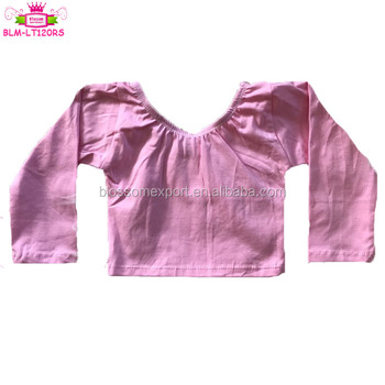 Solid Pink Kids Girls Classic Dance Wear Crop Top Gymnastics Leotards Long Sleeve Toddler Baby Crop Top Leotard