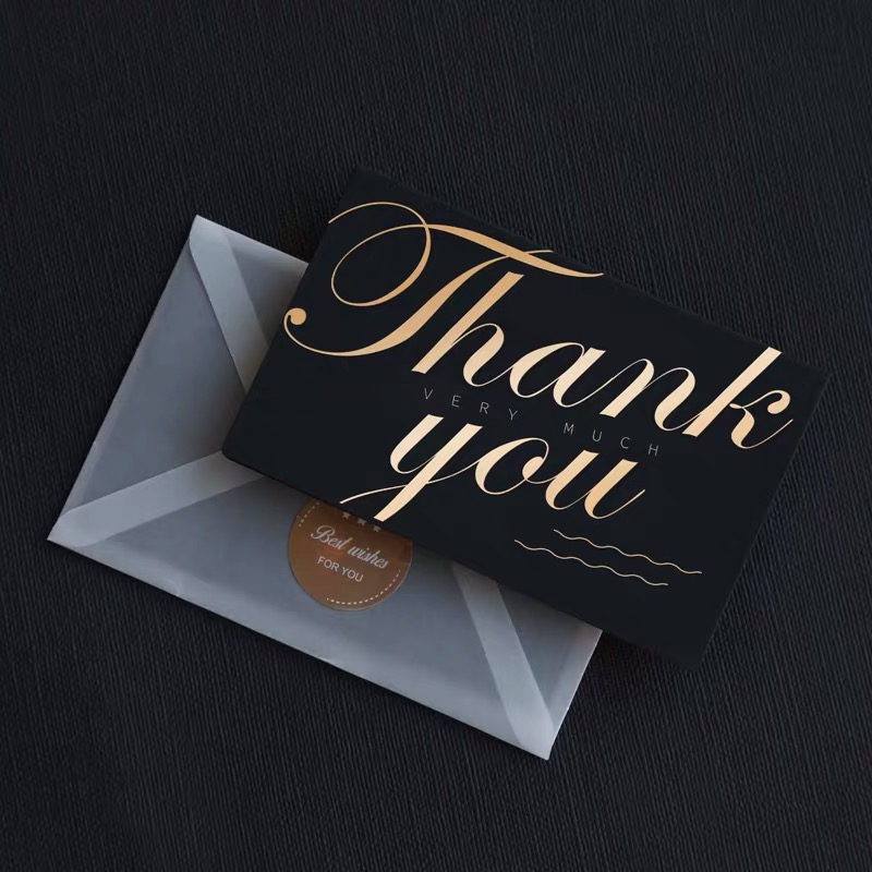 Luxury custom black kraft gold foil thank you gift <strong>cards</strong> greeting <strong>card</strong> with envelopes and sticker