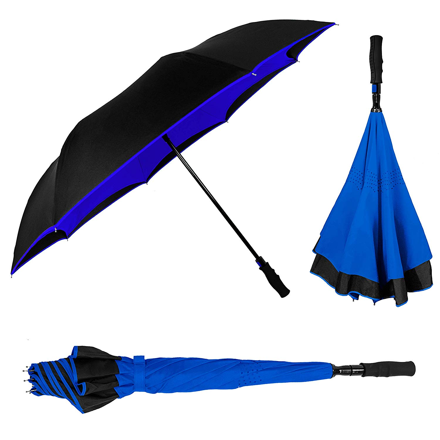 Most popular reverse umbrella rubber coated long handle upside down umbrella with shoulder bag