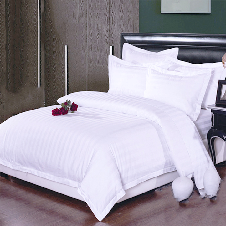 40S 1 & 3cm stripe hotel bedding duvet cover bed sheet set for hotel used with small MOQ