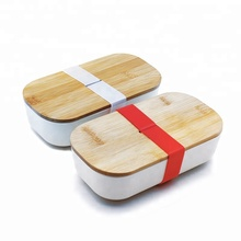 eco-friendly biodegradable customized logo bamboo lunch box with belt