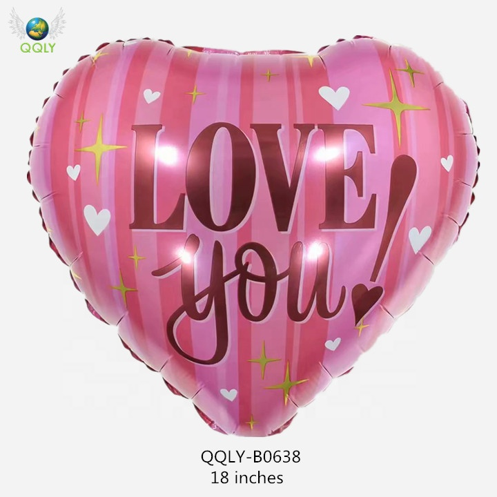 QQLY 18'' Love Heart Balloon Foil Helium Red Pink Wedding Gift for Her Bachelorette Party Decoration Globos Metalicos Amor