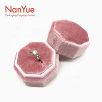 2020 New Vintage Luxury Velvet Wedding Ring Box Octagon Double Ring Jewelry Box