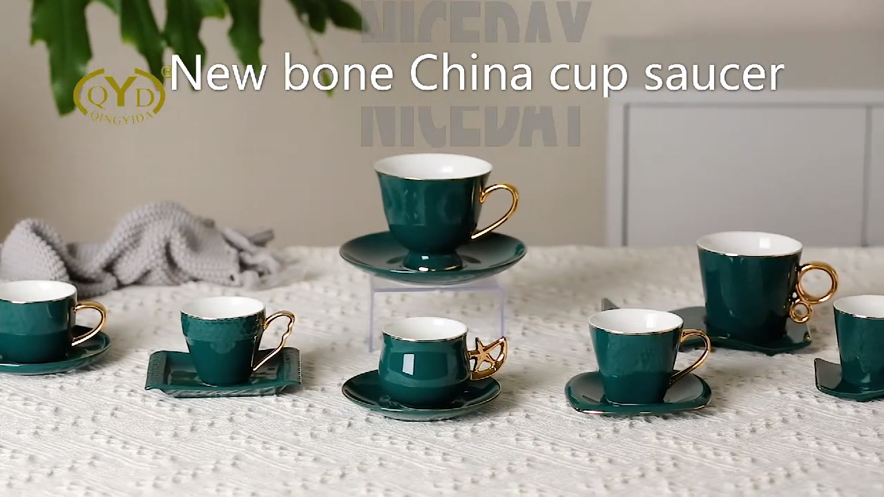 New design shine glazed deep green new bone China Arabic coffee cups ceramic cup and saucer