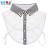 Hot Sale Fashion Crystal Rhinestone Pure Cotton White Fake Half Shirt Collar Design Detachable Lace Blouse Gray Collar For Women