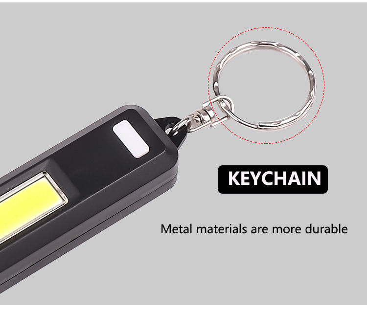 2020 New hot sale ABS plastic keychain with led light battery one mode led colorful COB keychain light