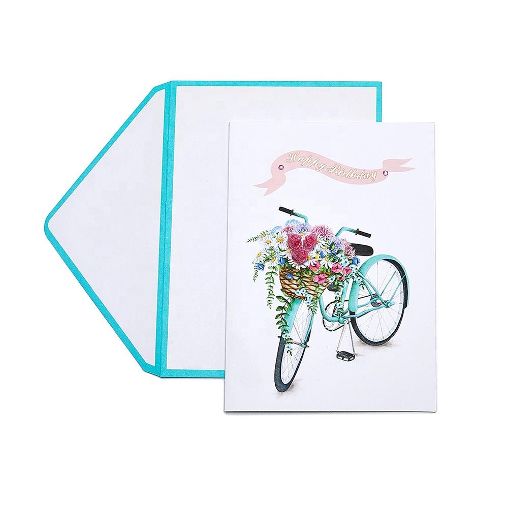 Best Seller Handmade Custom Printed Flower Bike Happy Birthday Greeting Cards with Gems