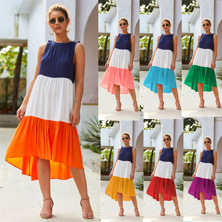 Summer stitching patchwork women's dress multicolor causal dress