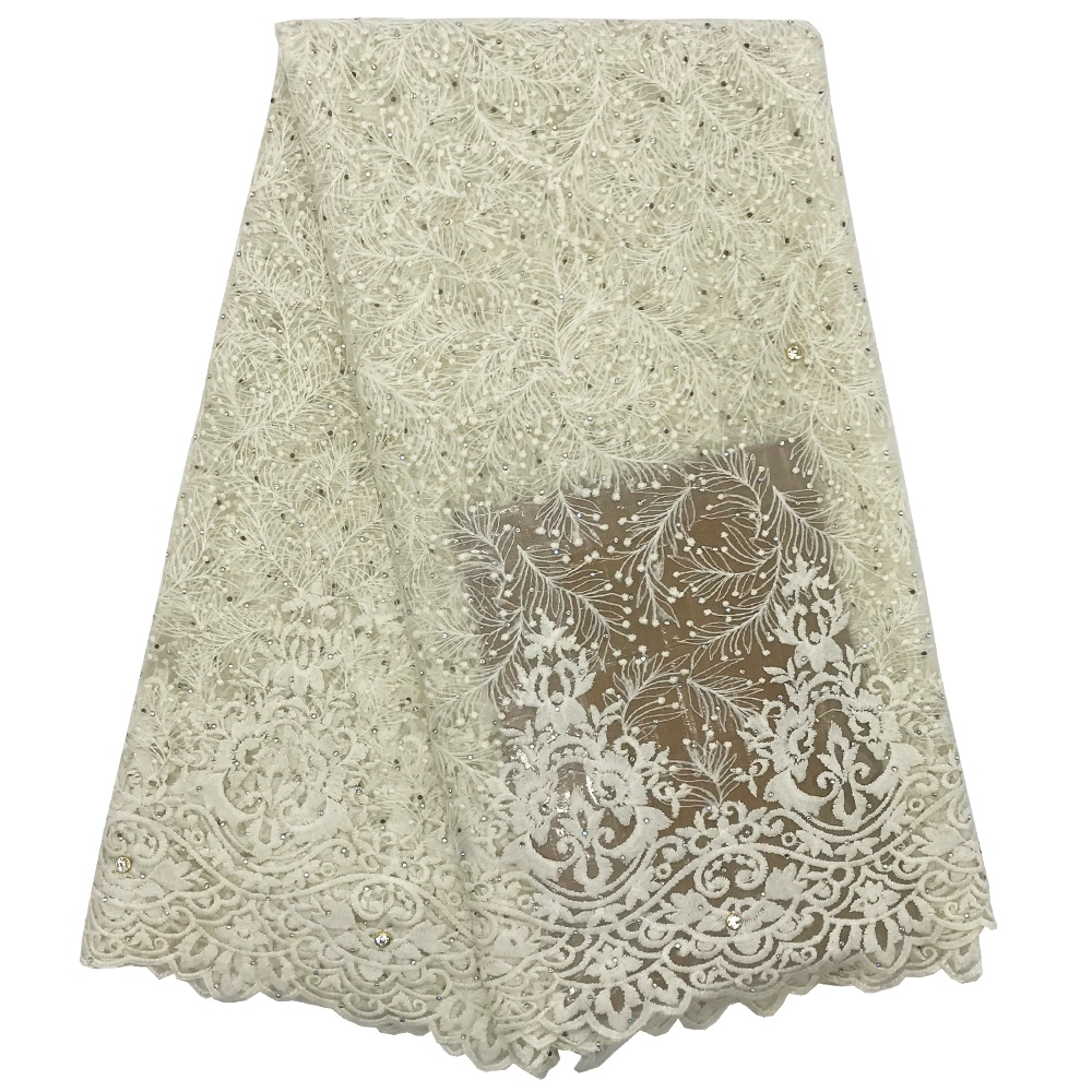 Mr.Z Clearance Sale Nigeian French Tulle <strong>Lace</strong> Fabric With Beads 5Yards N10410