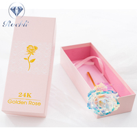Rainbow Galaxy Rose 24k Gold Dipped Roses Flower with Spring switch flash LED light for Unique Birthday Gifts pink box