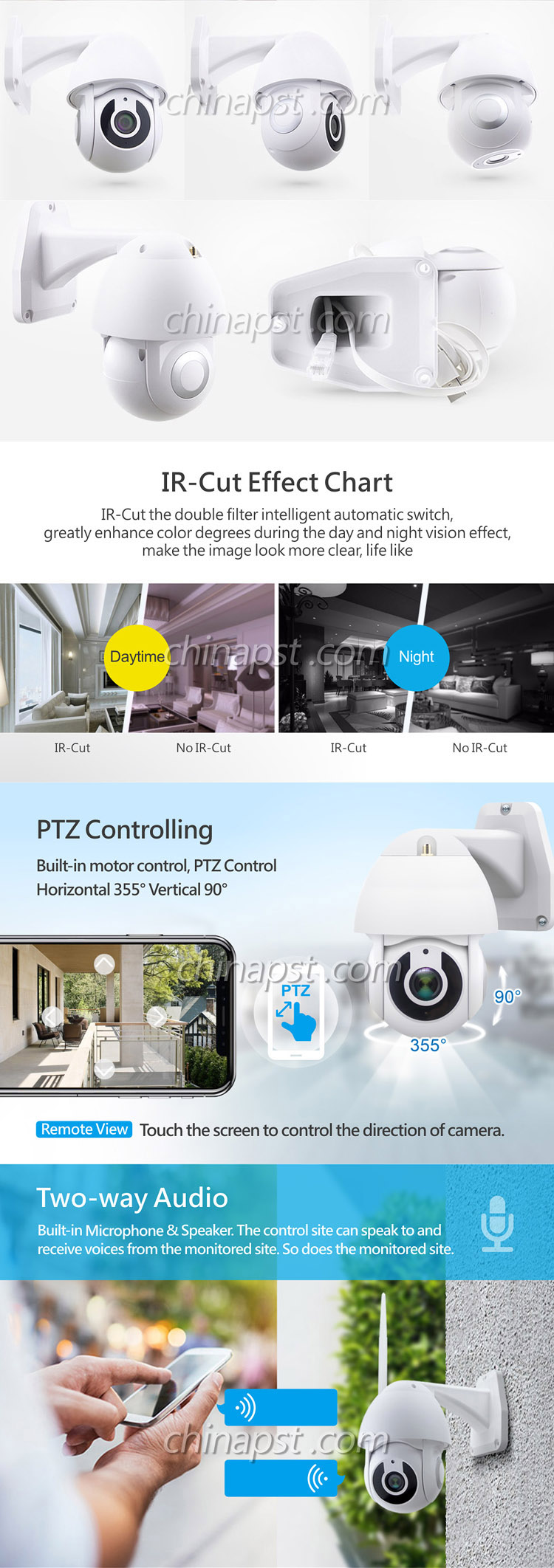 Kualitas Tinggi Nirkabel 1080P 2.0MP Tuya Smart WIFI 4 Inch Mini PTZ Camera PST-9620-G1