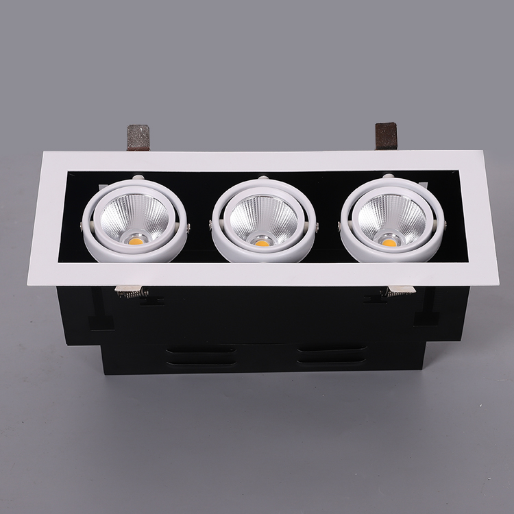 New model top quality multiple head recessed square downlights single double triple heads dimmable IP44 grille COB led downlight