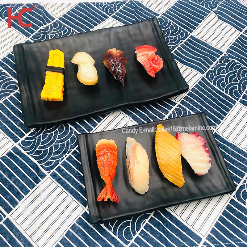 Aangepaste Rectangle Sushi Zwarte Plaat Food Grade Grill Bbq Plaat Melamine Voor Restaurant