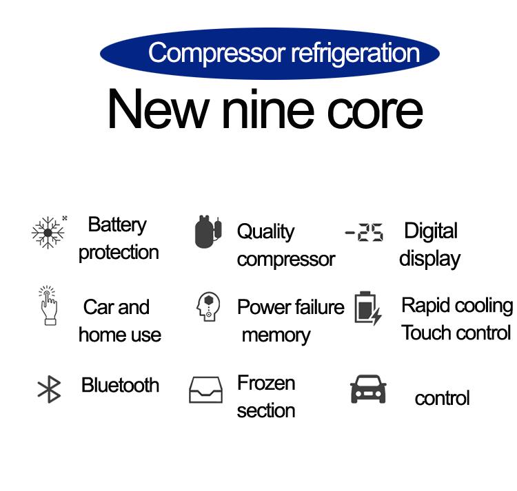 20L/26L/30L Phone Control Drink Beer Rapid Cooling Mini Portable DC Car Freezer