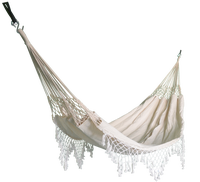 Comfortable white canvas outdoor cotton fringe swing bed hammock