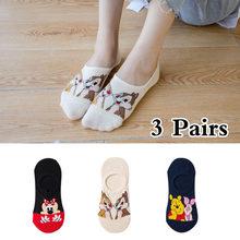 10 шт. = 5 пар, летние корейские носки, женские носки с мультяшными животными, медведями, мышками, милые забавные невидимые хлопковые носки до щ...(Китай)