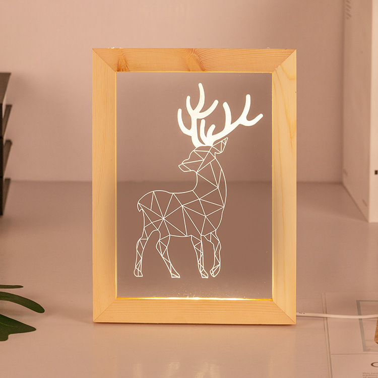 Deer 3D USB Led Nightlight Warm Light Visual Illusion USB <strong>Lamp</strong> Kids Living Table Desk Led Photo Frame <strong>Lamp</strong>