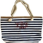 Canvas Striped Rope Handles Beach Tote Wholesale Wedding Party Gift Monogram Canvas Striped Beach Tote