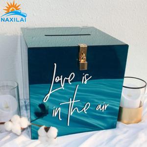 NAXILAI amazing acrylic wedding ring box custom acrylic wedding invitation card box and wedding box acrylic