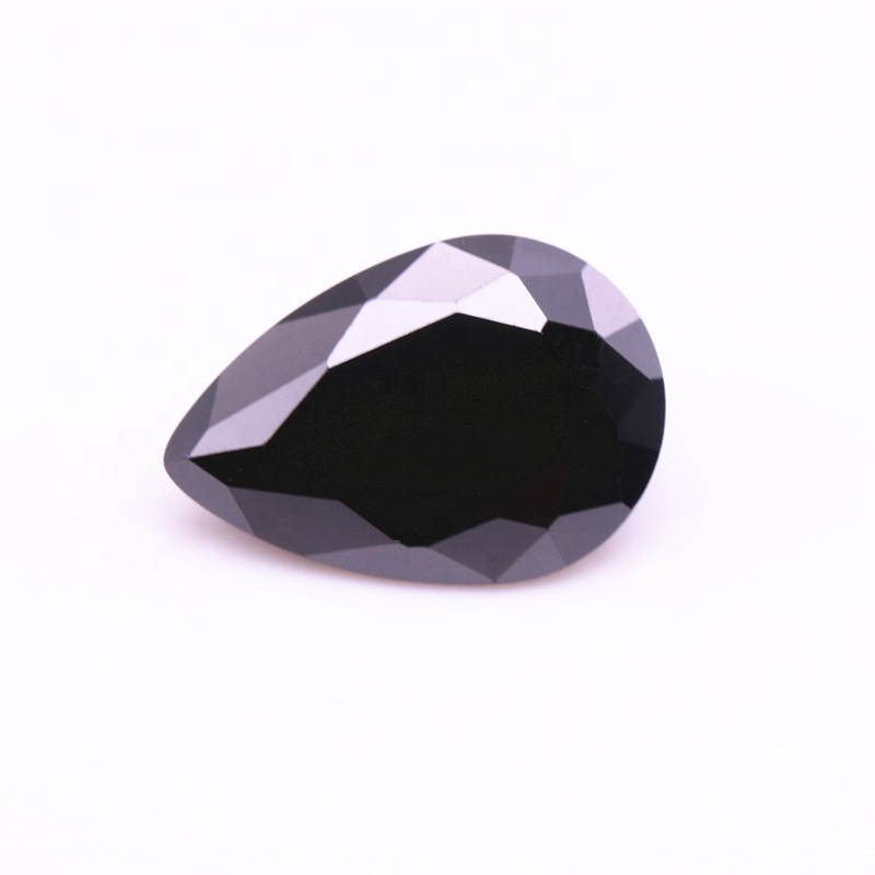 High Quality Black <strong>Pear</strong> Shape Artificial Cubic <strong>Zirconia</strong> Loose Gemstone For Jewelry Making