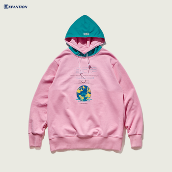 Factory 2019 New Original Design Ins Style 100 Cotton Oversized Streetwear Pink Hoodie