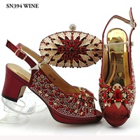 Fashion Wine African Women Shoes And Bag Set Nigeria Party Shoes And Bag Set Italian Shoes And Bags To Match For Ladies