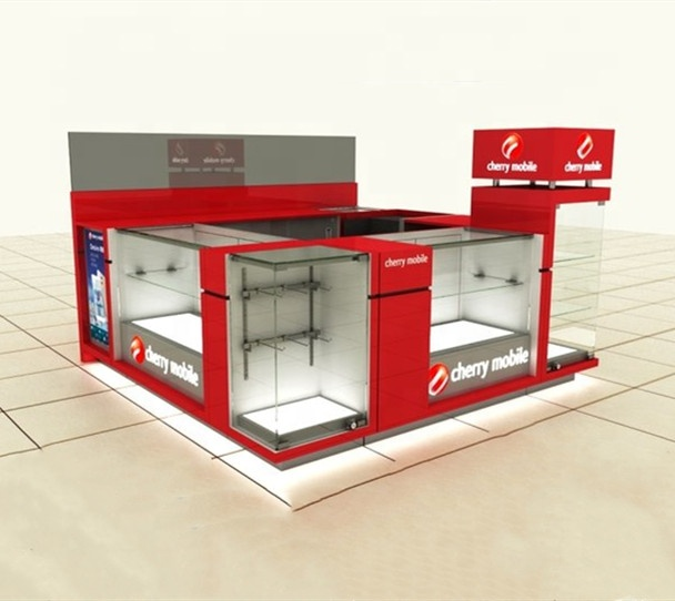 Hot Sale Kiosk for Cell Phone Accessories Display Retail Mall Mobile Phone Kiosk with LED Lighting