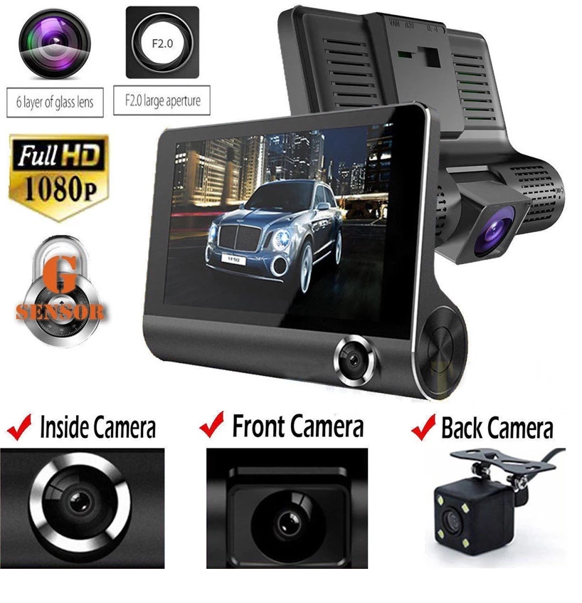 Hottest Three Cameras dashboard camera car black box T319 4.0 inch Front and Rear Car Camera 1080P Dual dash cam