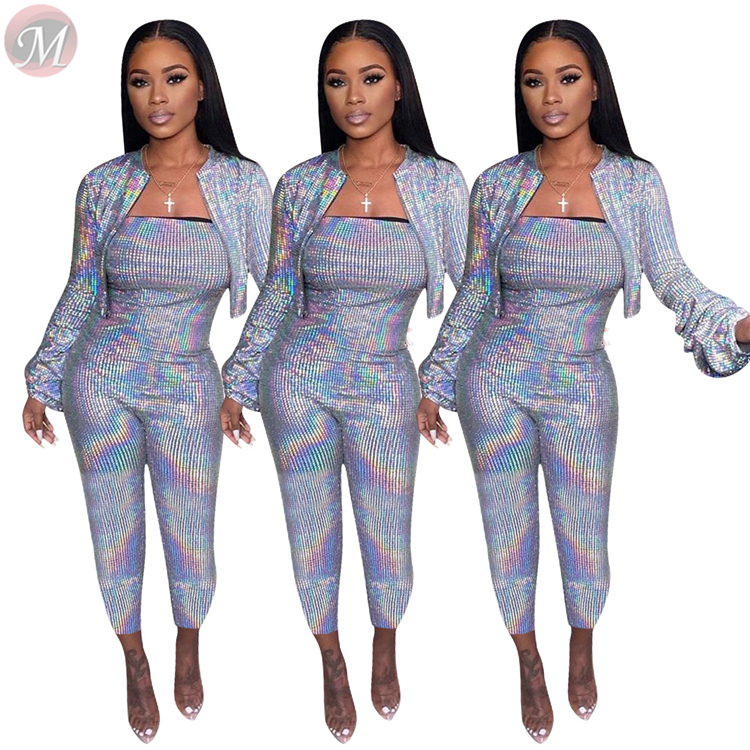 9121814 hot selling sexy night club hot Stamping short jacket and bodycon jumpsuit Winter Clothes Women Pant Sets