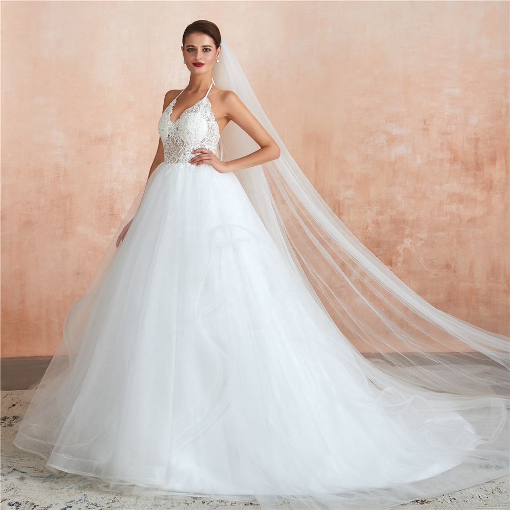 Latest Bridal Wedding Gowns Vestido de noiva ball gown wedding gown dresses Lace Appliqued and Beaded Wedding Dress 2020