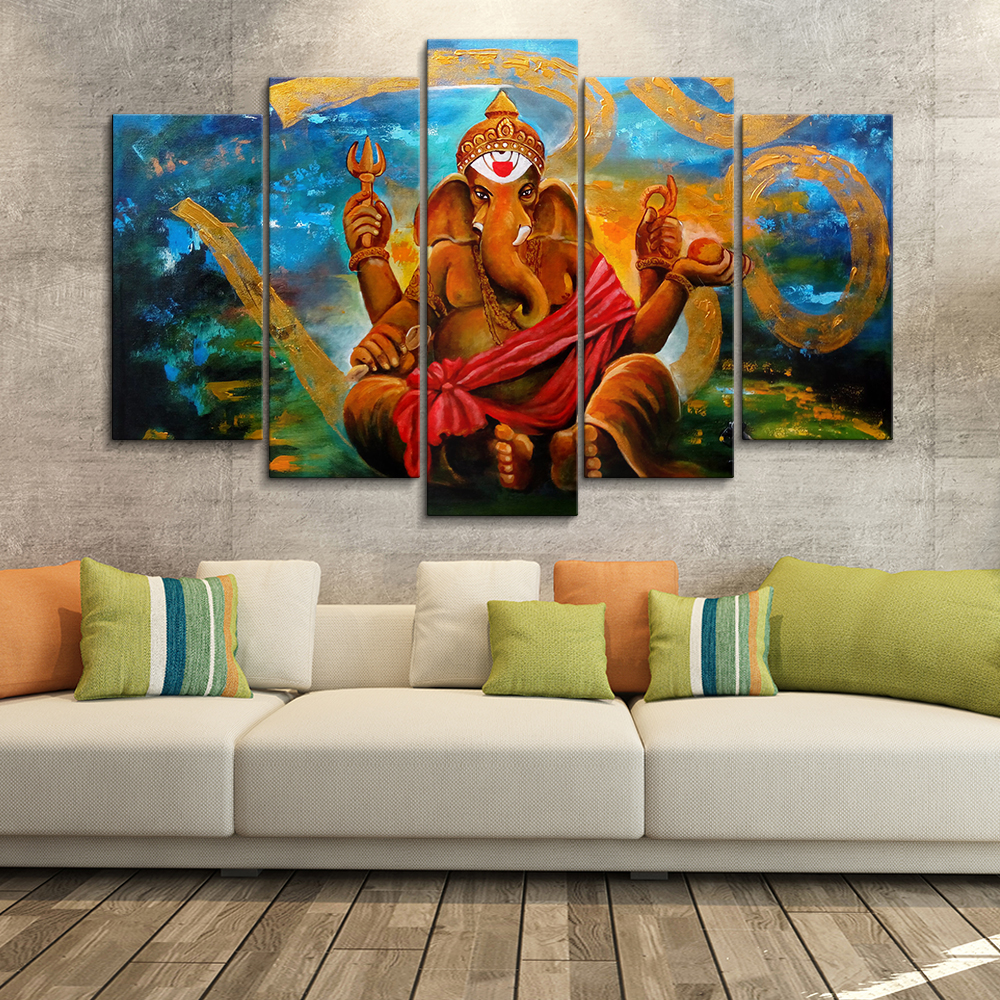 5 panel custom abstracte rode lord ganpati ganesha canvas prints wall art schilderen op canvas