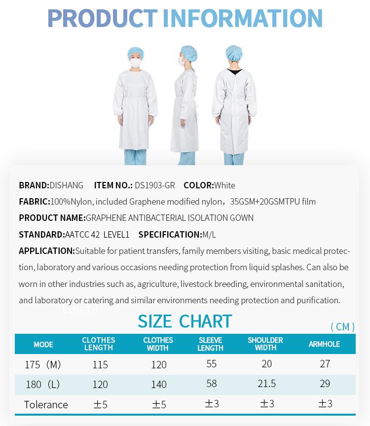 Graphene Medical Use Anti Dust Anti Harmful Splashes Isolation Gown Modified Nylon Isolation Suits Safety Dress - KingCare | KingCare.net