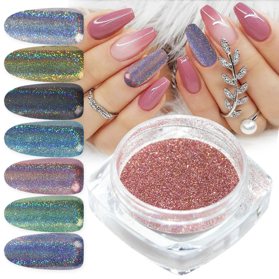 1g Holographic Silver Rose Gold Shimmer Rubbing <strong>Nails</strong> Chrome Dust Chameleon <strong>Nail</strong> <strong>Glitter</strong> <strong>Powder</strong> For DIY Manicure