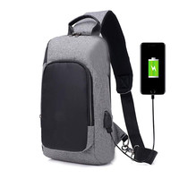 Water proof USB charge port nylon men shoulder laptop bag