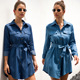 Casual Tie-Wrap Long Sleeve Shirt Denim Dress
