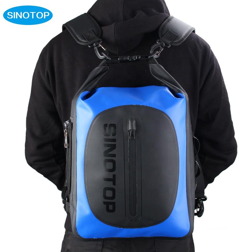 Venta al por mayor de mochila impermeable ligera para acampar y hacer senderismo 20L unisex con estampado personalizado y flotador de pvc resistente al agua para exteriores