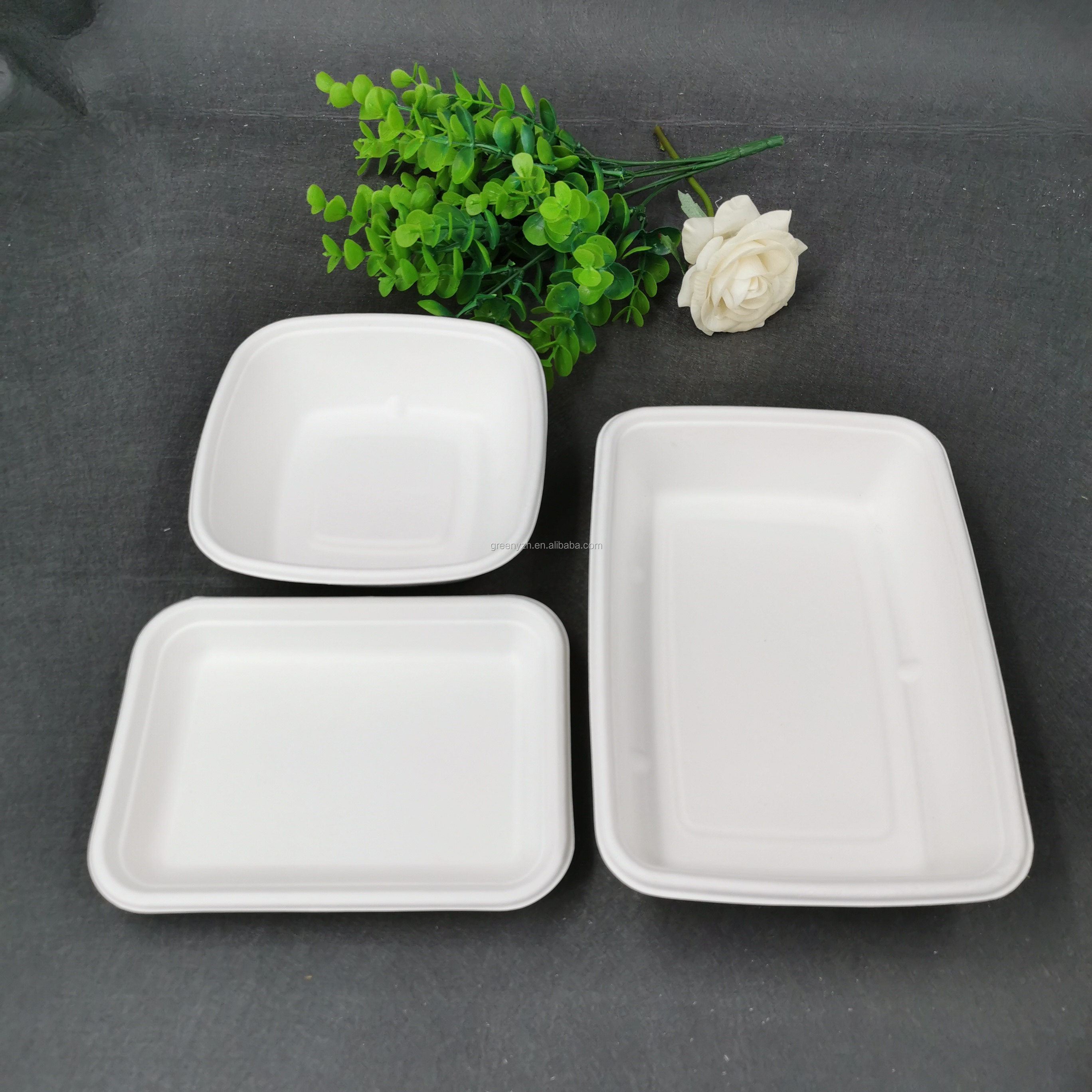 Eco-friendly bamboo pulp 100% compostable and biodegradable Supermarkets Vegetable and fruit meat tray dish