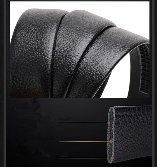 N662 Wholesale Custom New Adjustable Casual Automatic Buckle Belt Fashion Lxurury Business Men Black Genuine Leather Belts