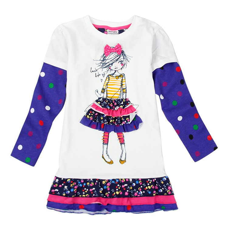 3-6 Years <strong>Girls</strong> Fall Dresses Long Sleeve with Cartoon Printing Cheap Kids Clothes Dot <strong>Design</strong> <strong>Girls</strong> Boutique Clothing
