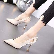 Обувь знаменитостей на высоком тонком каблуке с закрытым носком; Новинка; Европейский и американский стиль; Профессиональная женская обувь(Китай)