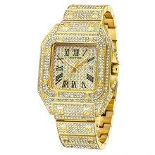 Iced Out Мужские часы Мужские модные часы золотые черные со стразами квадратные Дизайнерские мужские часы Rolexable кварцевые часы подарок для муж...(Китай)
