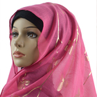 High quality gold bronzing print long muslim head scarf hijab with leaves shape for women