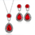Fashion Pendant Earrings Necklace Set New Full-drilling Drop Water Gemstone Stud Earrings Necklace