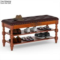 Hot sell Solid Wood Bench 2-tiler Shoe Rack Modern entryway storage bench
