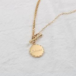 18K Gold Plated Beloved Coin Pendant Toggle Neckla