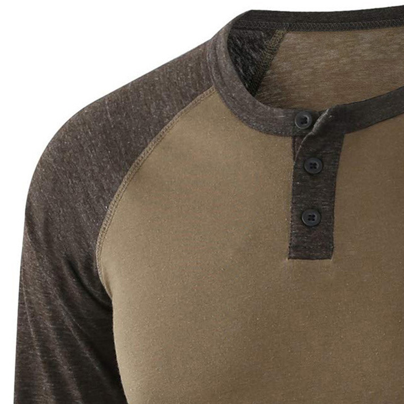 Mens di alta Qualità Dell'annata di Estate Cuciture A Contrasto Two Tone Henley Button Cotone T-Shirt