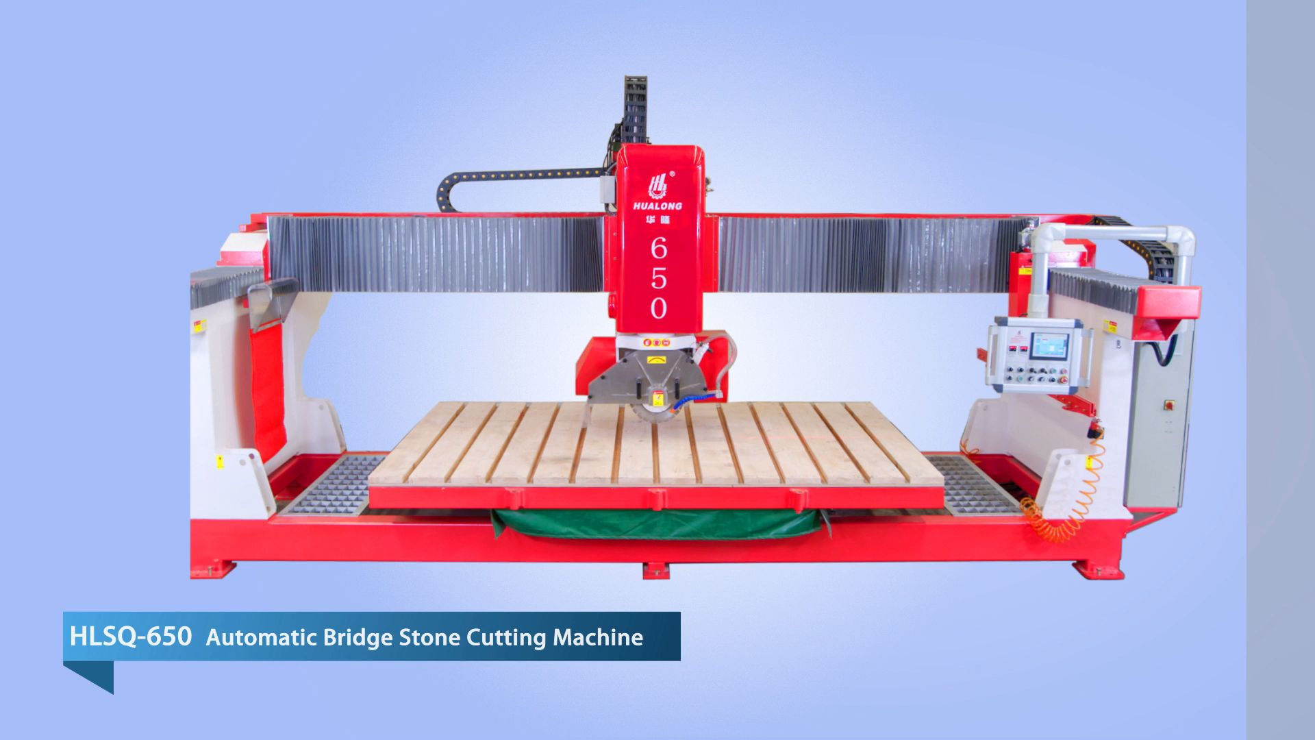 HUALONG stone machinery HLSQ-650 full automatic infrared Granite Bridge wet Saw for stone  slab cutting chamfering