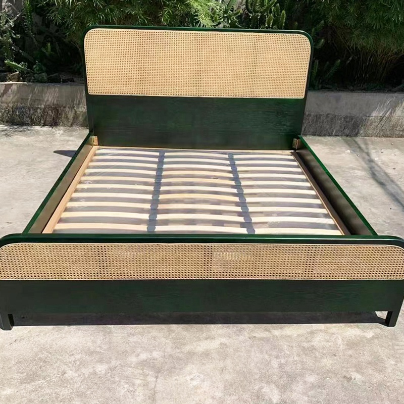 Chic Ashwood Cane Rattan King Queen Bed Frame