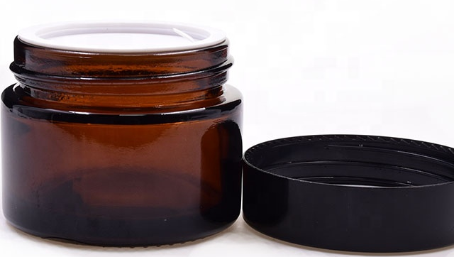 Free sample 50ml amber round eco friendly bottle jars cbd jar medical oil rosins wax flower packaging glass jar with plastic lid