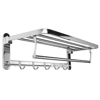 Bath fittings 304 stainless steel wall mounted bathroom towel racks with hooks